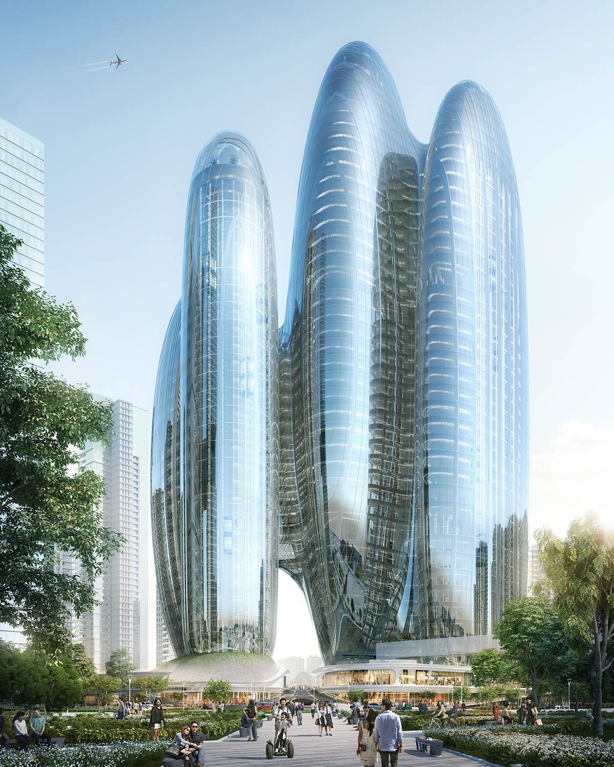 ZHA has released its design for four rounded and interconnected towers in Shenzhen, China, which will form the new headquarters of OPPO China's leading smartphone manufacturer
