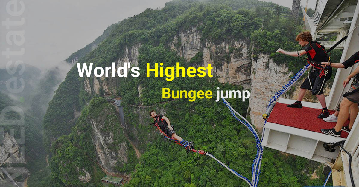 A new 260-meter-high (853 feet) bungee-jump platform will be added to the Zhangjiajie Grand Canyon Glass Bridge in August 2018. Once open, it will be the world's highest bungee jump